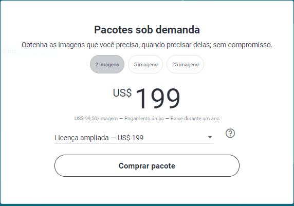 Preços da Shutterstock