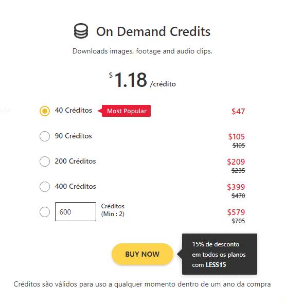 123RF preços