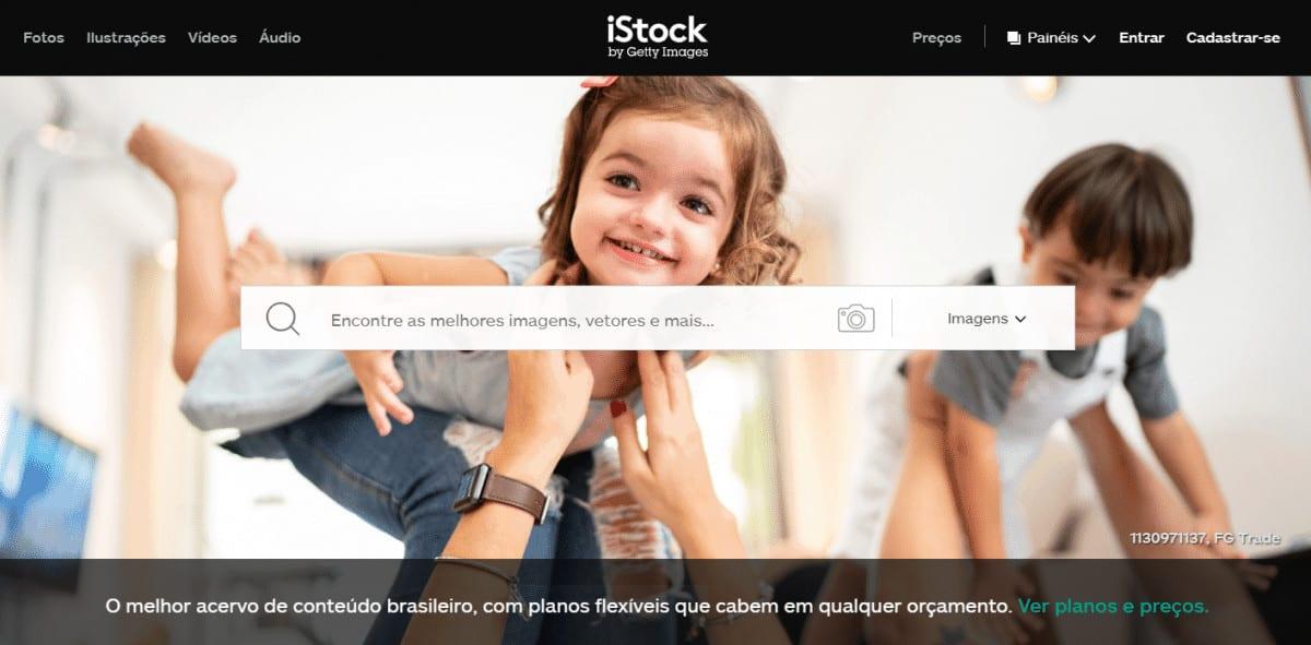 screenshot iStock pagina principal