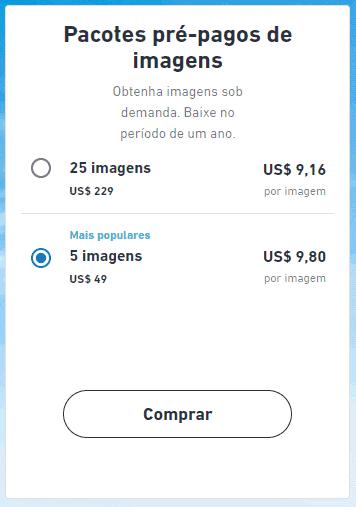 screenshot Pacotes pré pagos Shutterstock