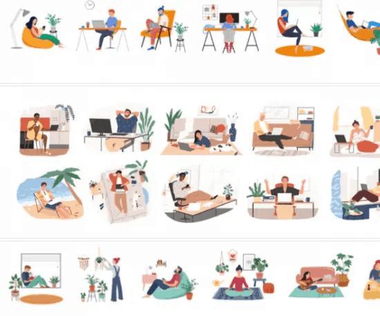 Mosaico de ilustrações Shutterstock