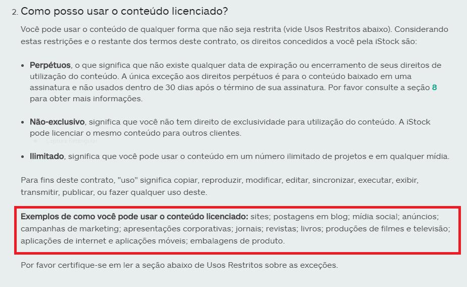 Termo de licença de uso iStock