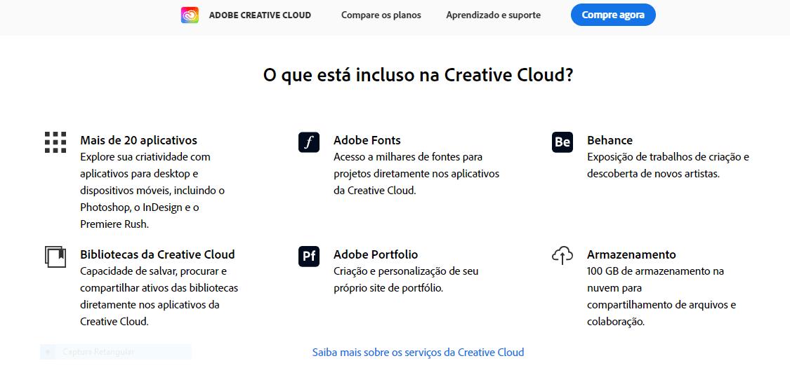 Preços adobe creative cloud o que está incluido