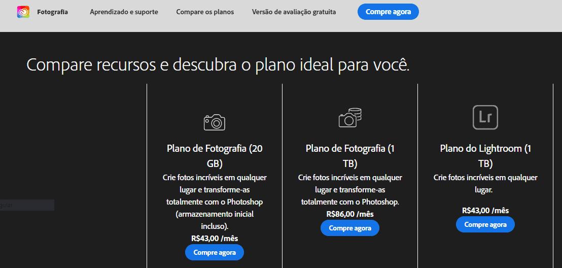Preços fotografia Creative Cloud