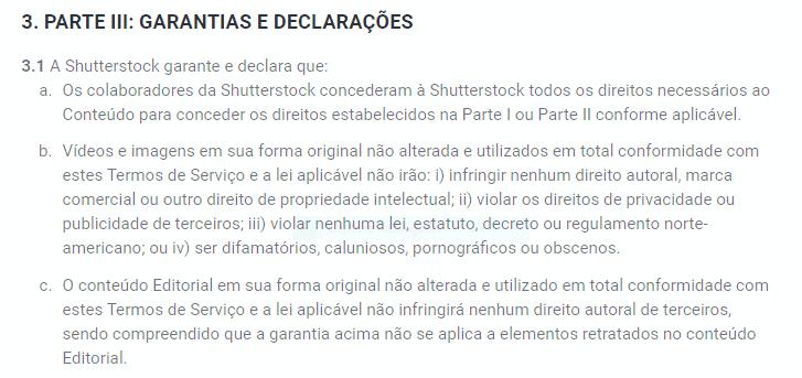 Contrato de licença Shutterstock