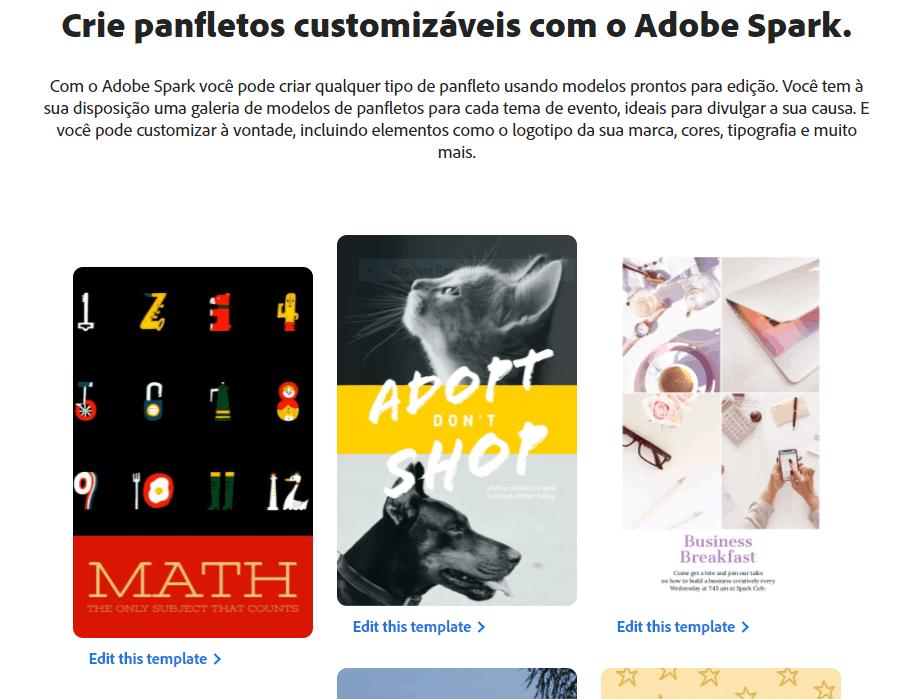 Adobe Spark modelos