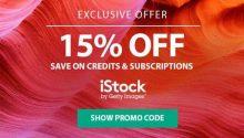 Cupom de desconto especial iStock